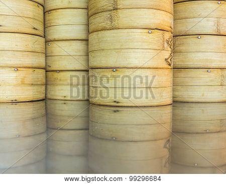 Dim sum bamboo baskets