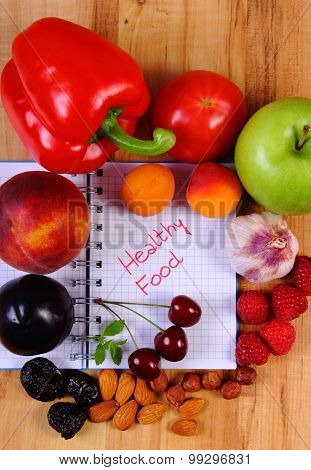 Fruits And Vegetables With Notebook, Slimming And Healthy Food