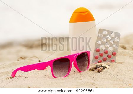 Pink Sunglasses, Shells, Lotion And Pills Of Vitamin E, Seasonal Concept