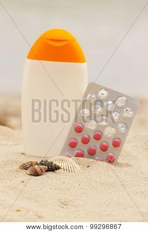 Shells, Lotion And Pills Of Vitamin E, Seasonal Concept