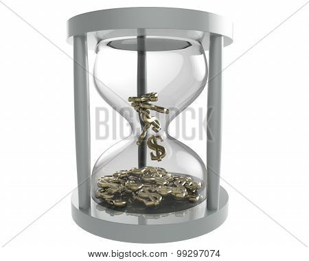 Hourglass With Dollar Gold Sign With Clipping Path