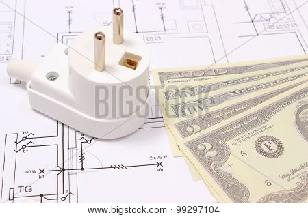 Electric Plug And Money On Electrical Drawing, Energy Concept