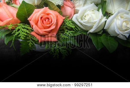 Decorated Orange And White Roses