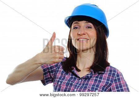 Builder Woman In Blue Helmet Showing Thumbs Up
