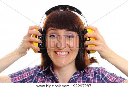 Builder Woman Wearing Protective Headphones