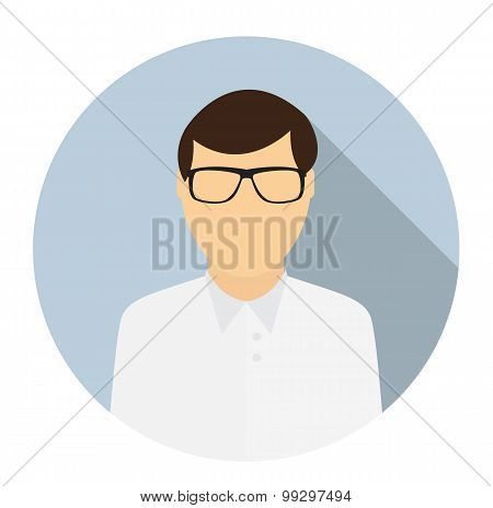 Man Face Circle Icon in Trendy Flat Style