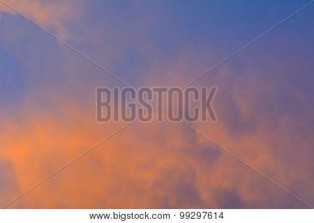 Orange Clouds On The Sky