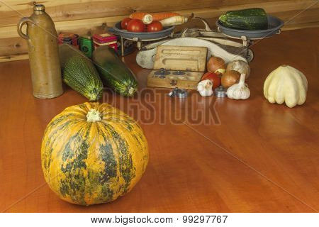 Growing vegetables in the organic farm. Vegetables grown in a small home garden.