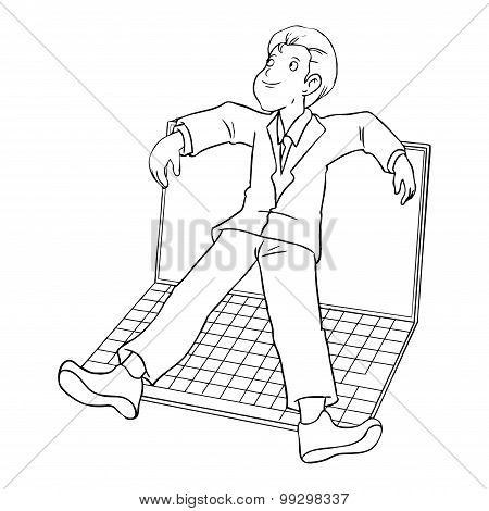 Cartoon of businessman laying on giant laptop