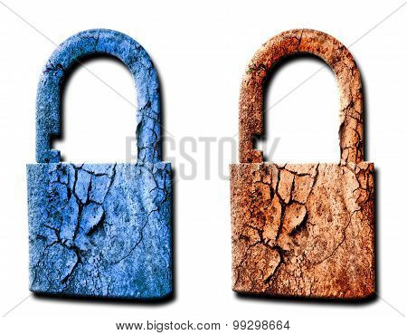 Two padlocks on white background