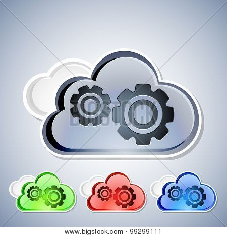 Cloud Computing Icons Set, Vector Illustration