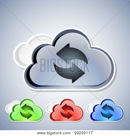 Cloud Computing Refresh Icons Set, Vector Illustration