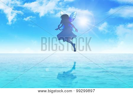 Pixie Flying On Blue Water