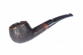 picture of tobacco-pipe  - Vintage brown tobacco pipe in closeup and isolated on white - JPG