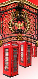 stock photo of phone-booth  - Classic British red phone booths in London UK - JPG