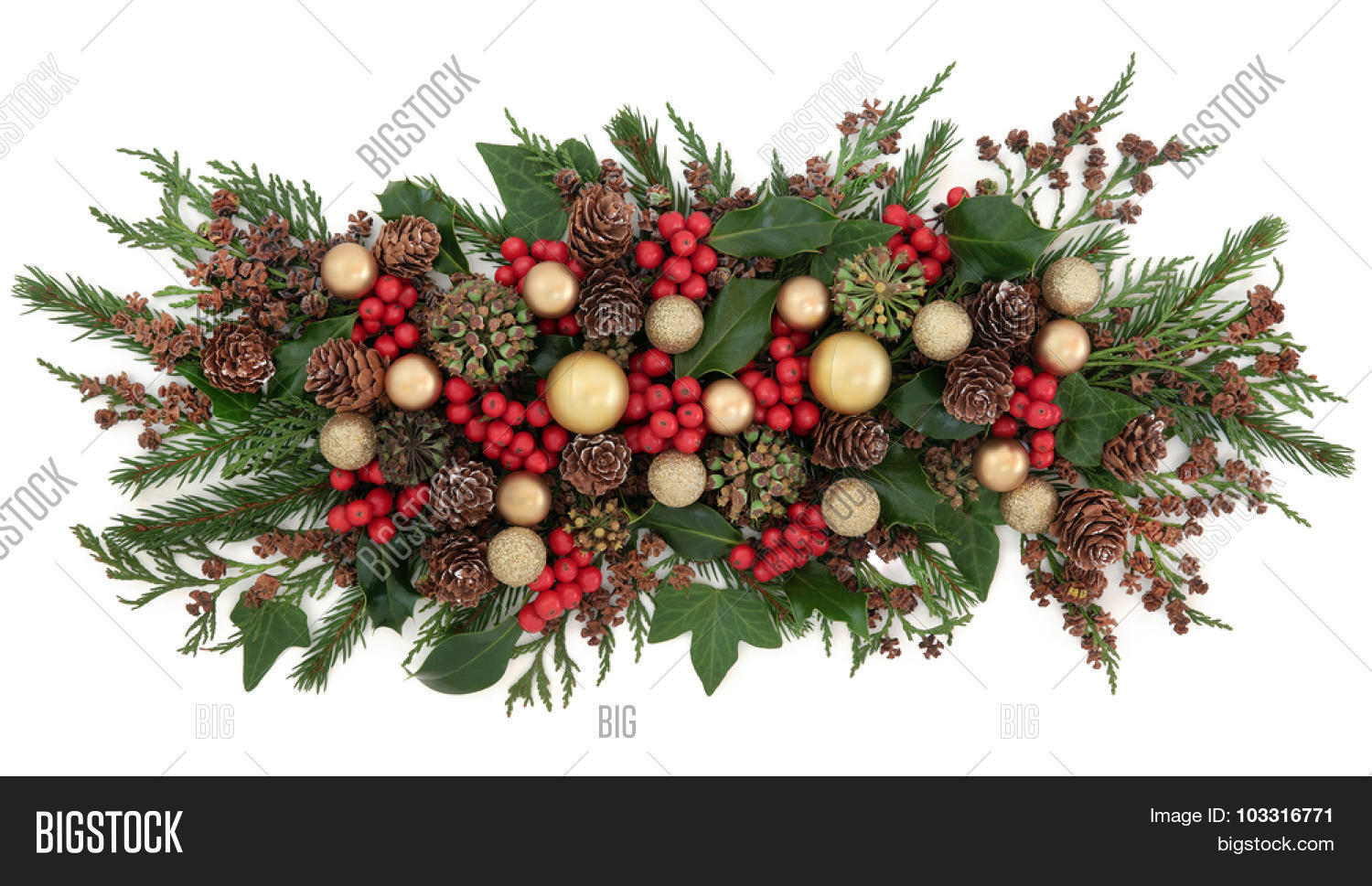 Why is holly a traditional christmas decoration - Christmas Gold Bauble Decorations Holly Mistletoe Ivy Pine Cones And Traditional Greenery