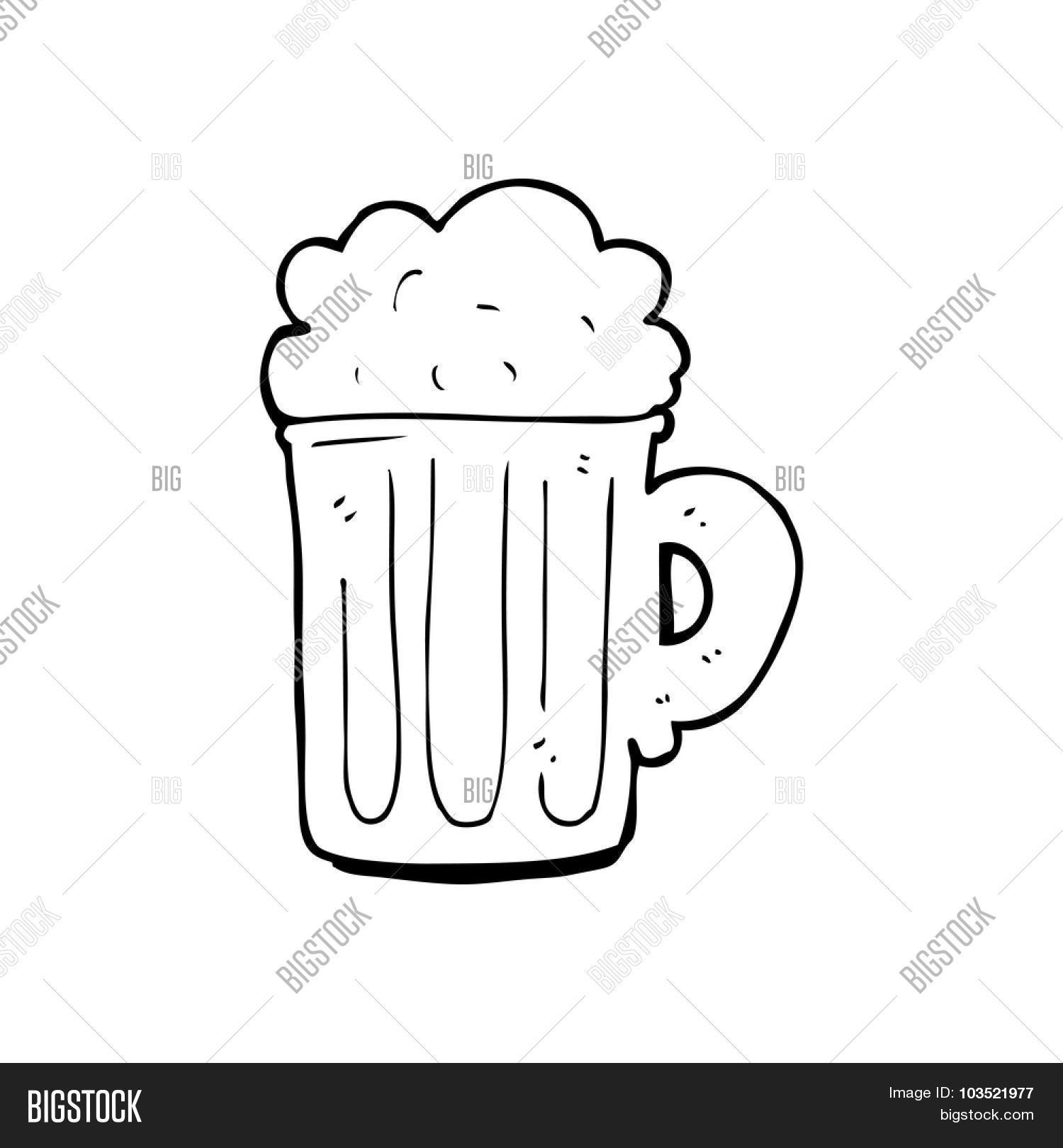 One Line Art Beer : Simple black and white line drawing cartoon pint of beer