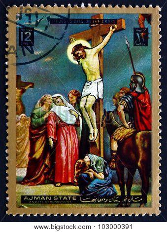 Postage Stamp Ajman 1973 Jesus On The Cross