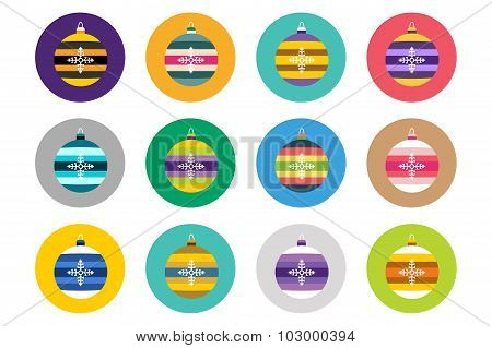 Colorful christmas balls flat vector icons set collection bundle