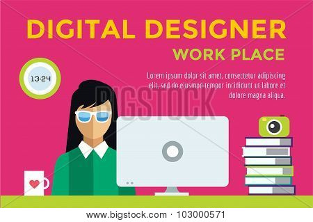 Designer girl at workplace vector silhouette