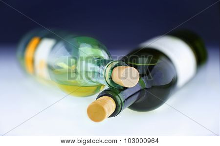 Two White Wine Bottles