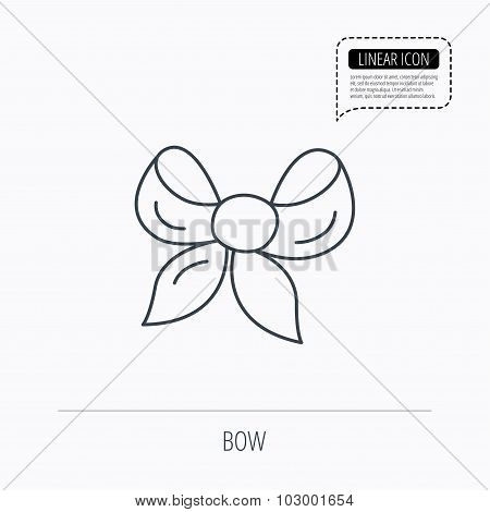 Gift bow icon. Present decoration sign.