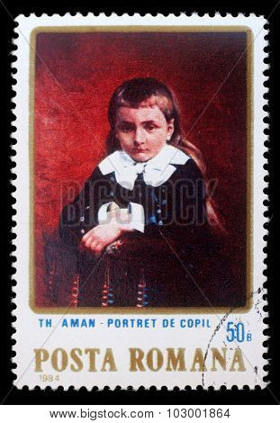 ROMANIA - CIRCA 1984: a stamp printed in Romania shows Portrait of a Child, by Th. Aman, circa 1984.