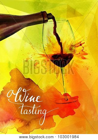 'Wine tasting', watercolor illustration with red wine