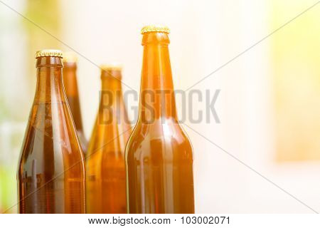 Close up of beer bottles, cold refreshment