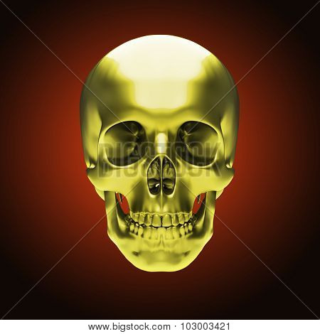 Gold metallic skull on dark red background