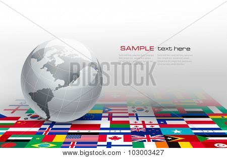 Grey globe on a background made of flags. Vector.