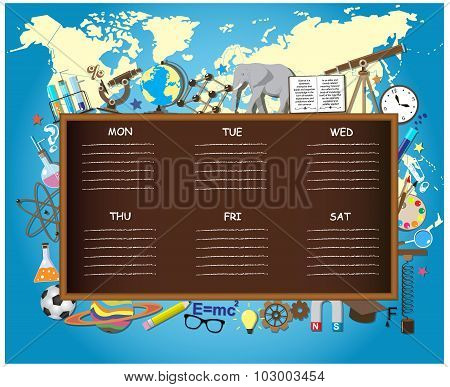 School schedule on chalkboard background with science symbols, supplies and design elements.