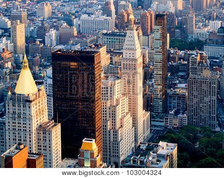 NEW YORK,USA - AUGUST 15,2015 : Aerial view of midtown New York including the Metlife Tower and the New York Life Building