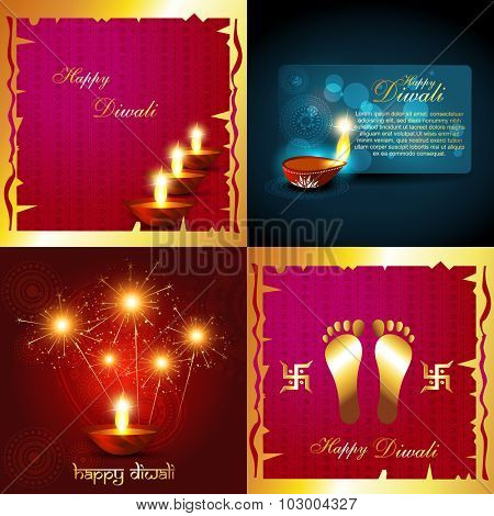 vector collection of diwali holiday background with burning diyas and fireworks illustration