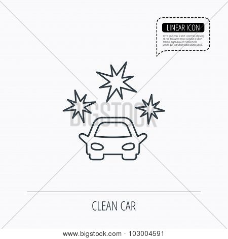 Clean car icon. Cleaning wash station sign.