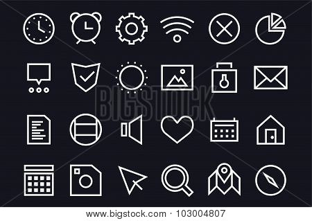 Outline vector UI user interface technology black and white icons set bundle