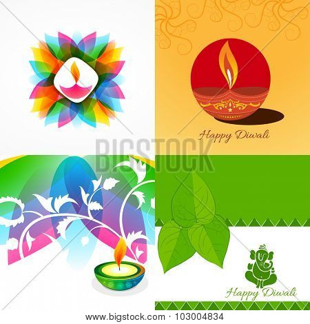 vector collection of different types of diwali background with decorated diya in floral design