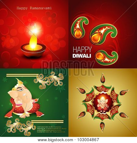 vector collection of happy diwali background with lord ganesha, decorated diya in floral design and rangoli illustration