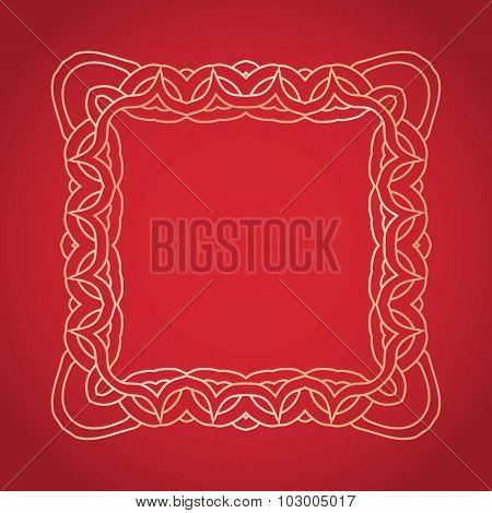 Vector illustration. Design frame elements vintage on red background.