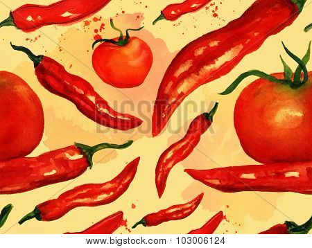 Seamless watercolor red hot chili peppers background pattern, toned