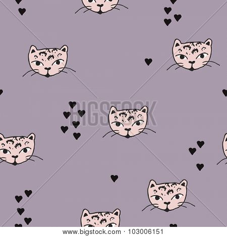 Seamless cute panther kitten cat head illustration and love hearts scandinavian style background pattern in vector pastel pink violet