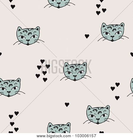 Seamless cute panther kitten cat head illustration and love hearts scandinavian style background pattern in vector mint
