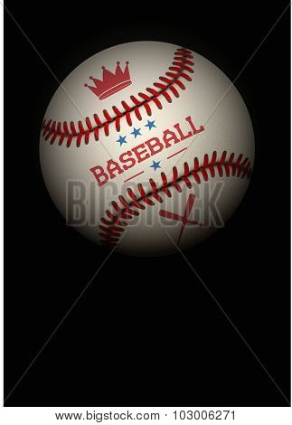 Dark Background of baseball ball. Vector Illustration.