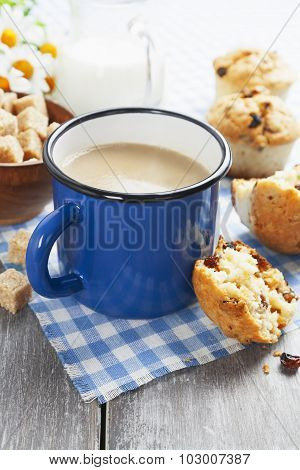 Mug of Coffee With Milk And Muffins