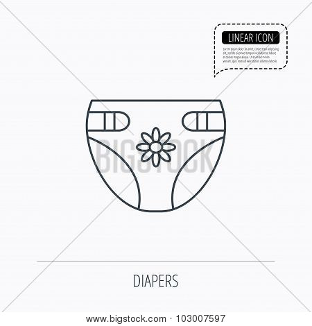 Diaper with flower icon. Child underwear sign.
