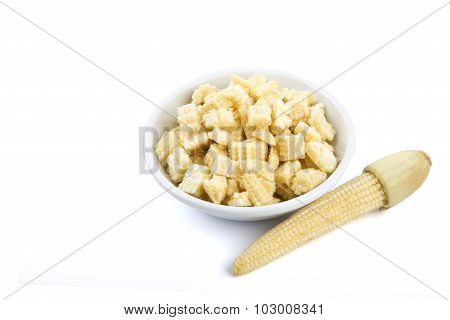 Isolated Of Chopped Baby Corn In A Little White Bowl