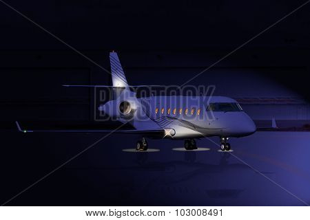 Private jet at night on the runway