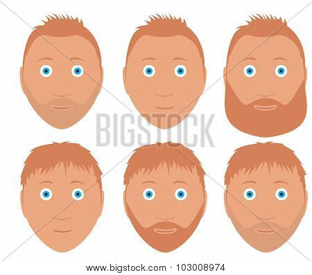 set of vector man faces with different hairstyle and beard redhead