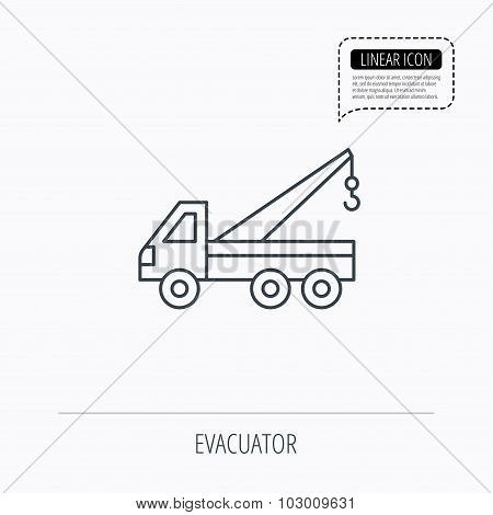 Evacuator icon. Evacuate parking transport sign.