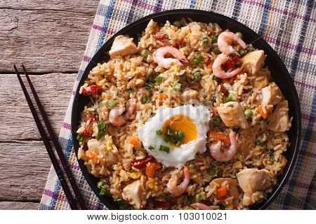 Nasi Goreng With Chicken, Prawns And Vegetables Closeup Horizontal Top View
